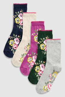 Next Floral Ankle Socks Five Pack