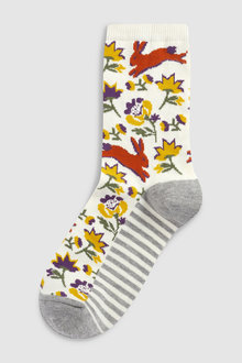 Next Rabbit Print Ankle Socks Five Pack
