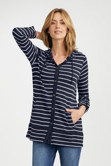 Capture Merino Button Up Longline Hooded Cardigan - 218719