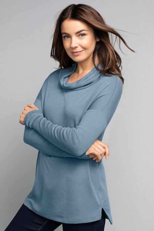 Capture Merino Cowl Neck Rib Sweater