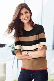 Next Stripe Short Sleeve Sweater