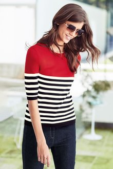 Next Stripe Short Sleeve Sweater