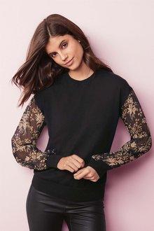 Next Woven Sleeve Sweater