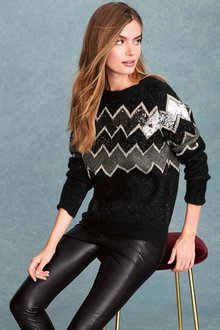 Next Zig-Zag Sequin Sweater