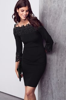 Next Lace Bardot Dress - 218829