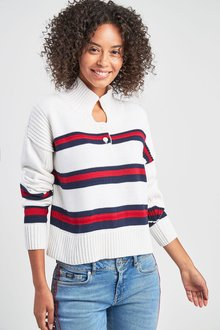 Next Button Neck Stripe Jumper