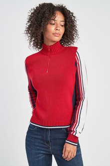 Next Sleeve Stripe Zip Neck Jumper