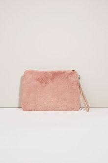 Next Faux Fur Zip Top Clutch Bag