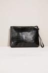 Next Croc Effect Zip Top Clutch Bag