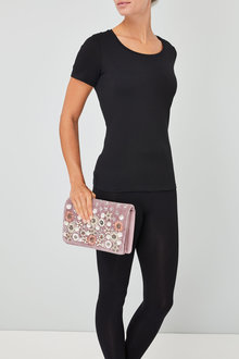 Next Velvet Beaded Clutch Bag