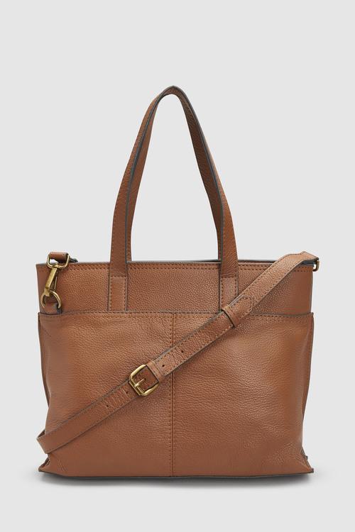 Next Leather Front Pocket Tote Bag