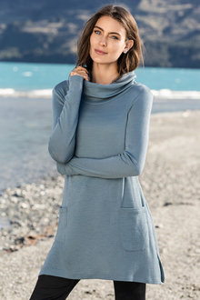 Capture Merino Cowl Neck Pocket Swing Tunic