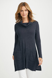 Capture Merino Cowl Neck Pocket Swing Tunic - 218914