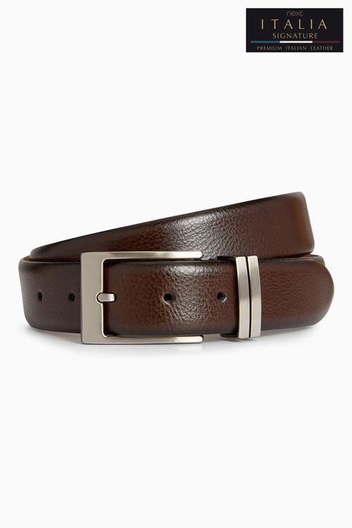 Next Signature Italian Leather Metal Loops Belt