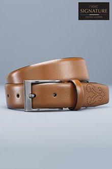 Next Signature Italian Leather Brogue Tip Belt