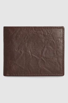 Next Creased Effect Leather Bifold Wallet