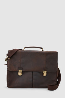 Next Signature Oily Leather Two Pocket Briefcase