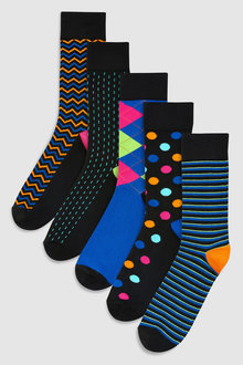 Next Base Bright Pattern Socks Five Pack