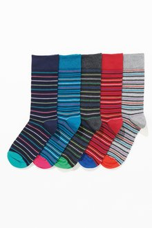 Next Fine Stripe Socks Five Pack