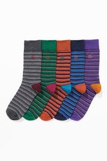 Next Stripe Embroidered Socks 5 Pack