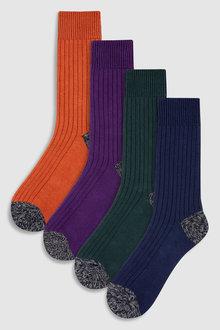 Next Colour Rib Heavyweight Socks 4 Pack