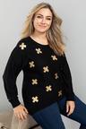 Plus Size - Sara Merino Foil Print Sweater