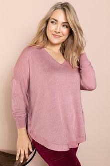 Plus Size - Sara Merino V Scoop Hem Sweater