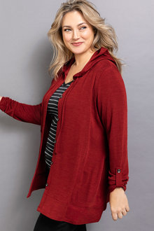 Plus Size - Sara Merino Button Through Hoody