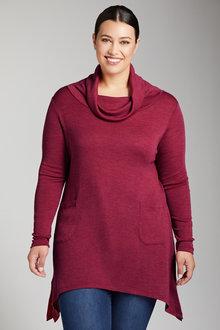 Plus Size - Sara Merino Cowl Neck Tunic
