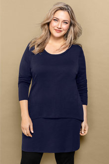 Plus Size - Sara Merino Double Layer Tunic - 219258