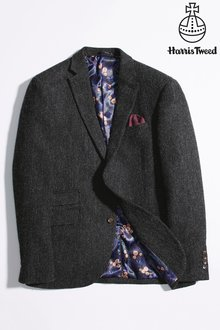 Next Signature Harris Tweed Herringbone Tailored Fit Jacket - 219342