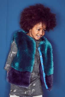 Next Colourblock Faux Fur Gilet (12mths-6yrs)