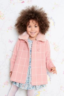 Next Check Faux Fur Collar Coat (12mths-6yrs)