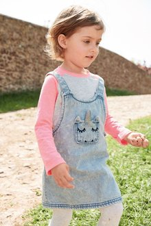 Next Unicorn Embroidered Pinafore Set (3mths-6yrs)
