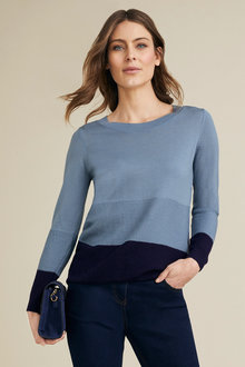 Capture Merino Long Sleeve Stripe Sweater - 219621