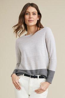 Capture Merino Long Sleeve Stripe Sweater - 219621