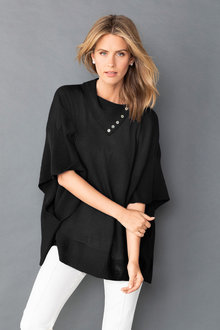 Capture Merino Button Neck Detail Poncho - 219626