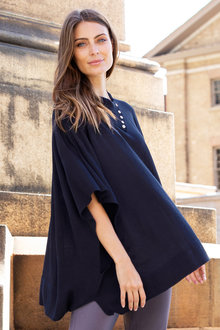 Capture Merino Button Neck Detail Poncho
