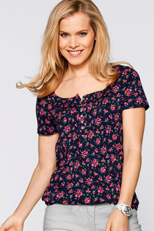 Urban Floral Pintuck Detail Top