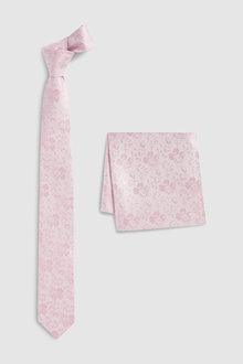 Next Silk Floral Tie And Pocket Square Set