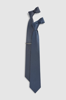 Next Textured Ties Two Pack With Tie Clip