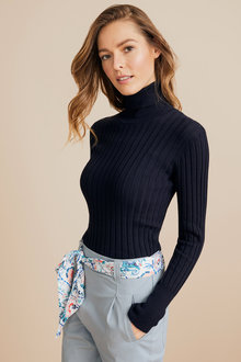 Capture Ribbed Roll Neck Top - 219675