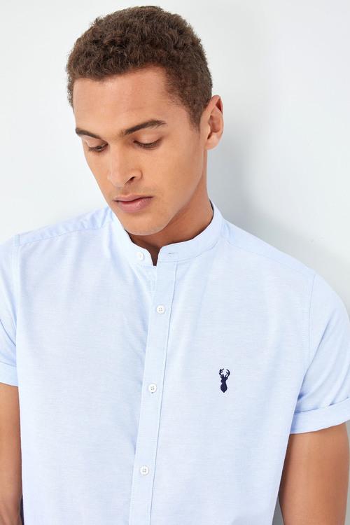 Next Short Sleeve Slim Stretch Oxford Grandad Shirt