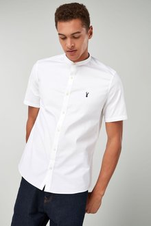 Next Short Sleeve Slim Stretch Oxford Grandad Shirt - 219787