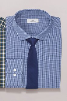 Next Mini Gingham Shirt And Tie Set - Slim Fit Single Cuff