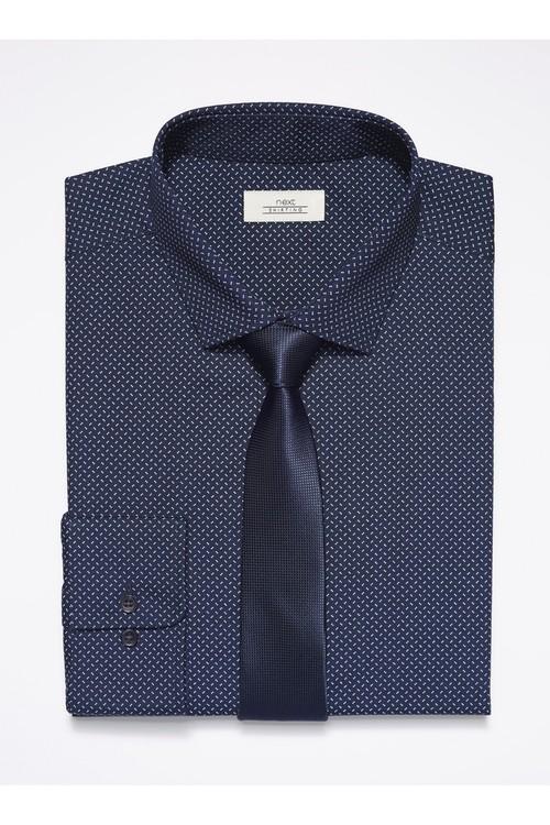 Next Dot Print Shirt With Tie Set - Slim Fit Single Cuff