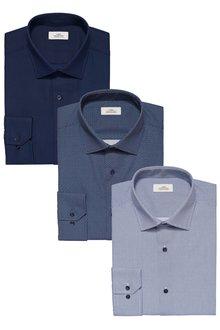 Next Print And Textured Shirts Three Pack - Slim Fit Single Cuff