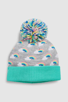 Next Rainbow Knit Pom Beanie Hat (Younger)