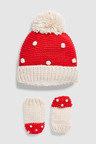Next Pom Beanie Hat & Mitts 2 Piece Set