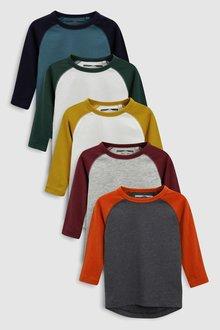 Next Long Sleeve Raglan T-Shirts Five Pack (3mths-6yrs)